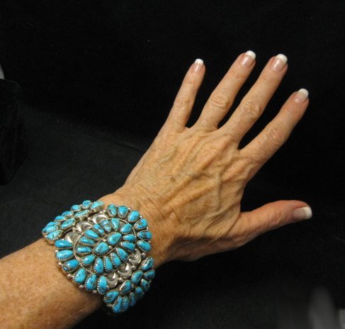 Image 3 of Justin Wilson Navajo Silver & Turquoise Cluster Jewelry Bracelet