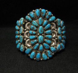 Justin Wilson Navajo Silver & Turquoise Cluster Jewelry Bracelet