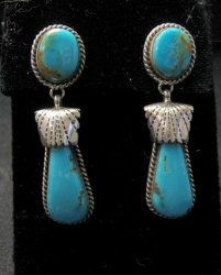 Navajo Indian Kingman Turquoise Silver Earrings, Elouise Kee