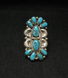 Justin Wilson Navajo Silver & Turquoise Cluster Sterling Silver Ring sz9