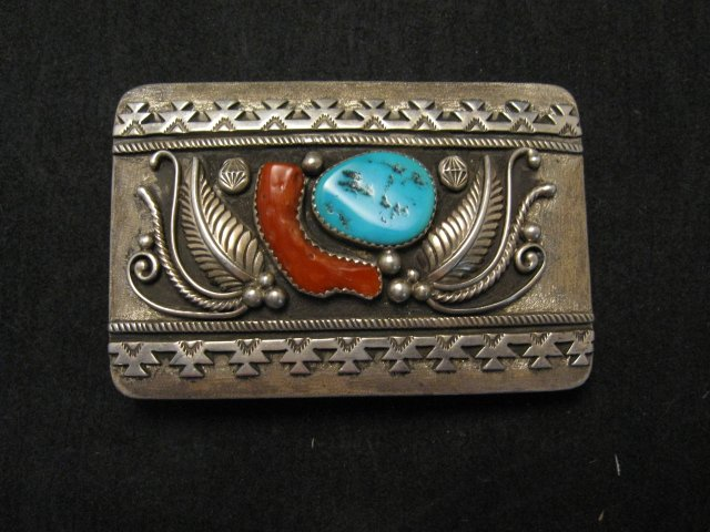 Image 0 of Native American Navajo Pawn Turquoise Coral Silver Buckle circa 1970's