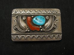 Native American Navajo Pawn Turquoise Coral Silver Buckle circa 1970's