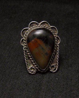 Image 0 of Old Dead Pawn Petrified Wood Sterling Silver Ring sz 7
