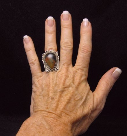 Image 1 of Old Dead Pawn Petrified Wood Sterling Silver Ring sz 7