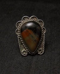 Old Dead Pawn Petrified Wood Sterling Silver Ring sz 7