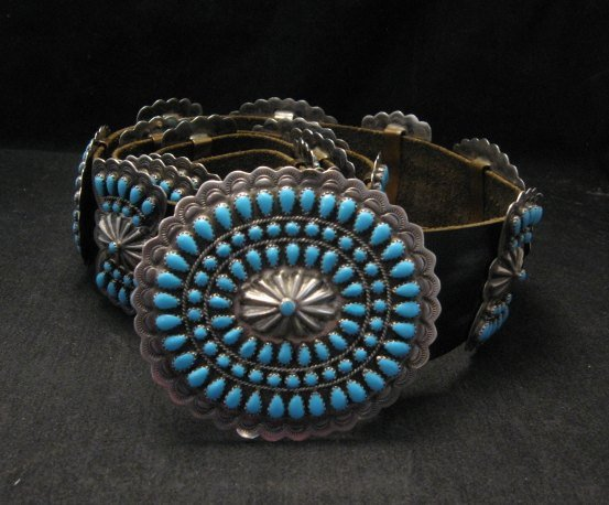 Image 3 of Vintage Pawn Navajo Native American Turquoise Cluster Concho Belt