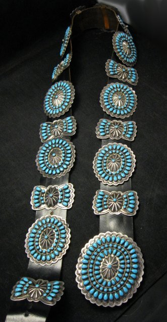 Image 5 of Vintage Pawn Navajo Native American Turquoise Cluster Concho Belt