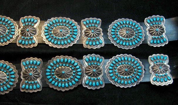Image 0 of Vintage Pawn Navajo Native American Turquoise Cluster Concho Belt