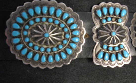 Image 6 of Vintage Pawn Navajo Native American Turquoise Cluster Concho Belt