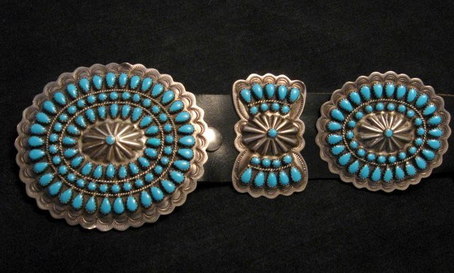 Image 4 of Vintage Pawn Navajo Native American Turquoise Cluster Concho Belt