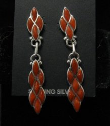Zuni Coral Sterling Silver Dangle Earrings