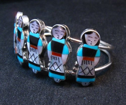 Image 1 of Zuni Indian Maiden Turquoise Inlay Silver Bracelet By Joyce Waseta