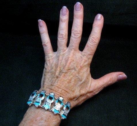 Image 3 of Zuni Indian Maiden Turquoise Inlay Silver Bracelet By Joyce Waseta