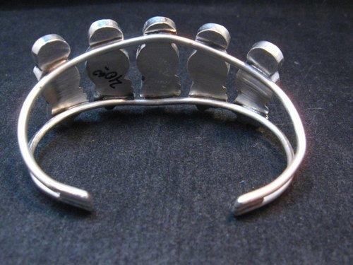 Image 4 of Zuni Indian Maiden Turquoise Inlay Silver Bracelet By Joyce Waseta