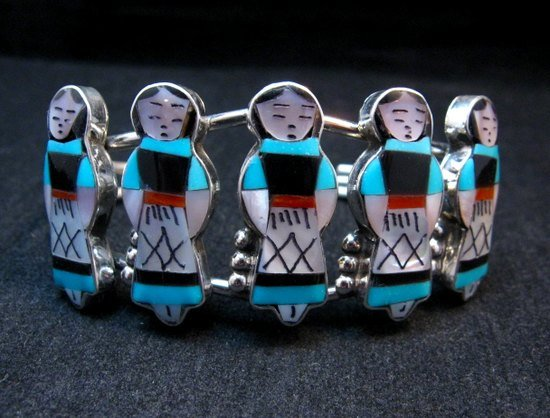 Image 5 of Zuni Indian Maiden Turquoise Inlay Silver Bracelet By Joyce Waseta