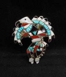 Laiwakete ~ Zuni ~ Multi-Stone Sterling Silver Eagle Dancer Pin
