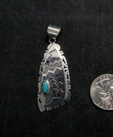 Image 0 of Nelson Morgan Navajo Turquoise Silver Shadowbox Pendant