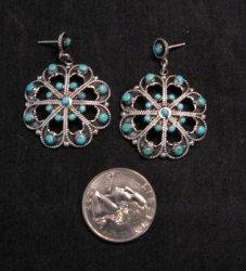 Zuni Native American Turquoise Snake-eye Earrings, M+A Tsatie