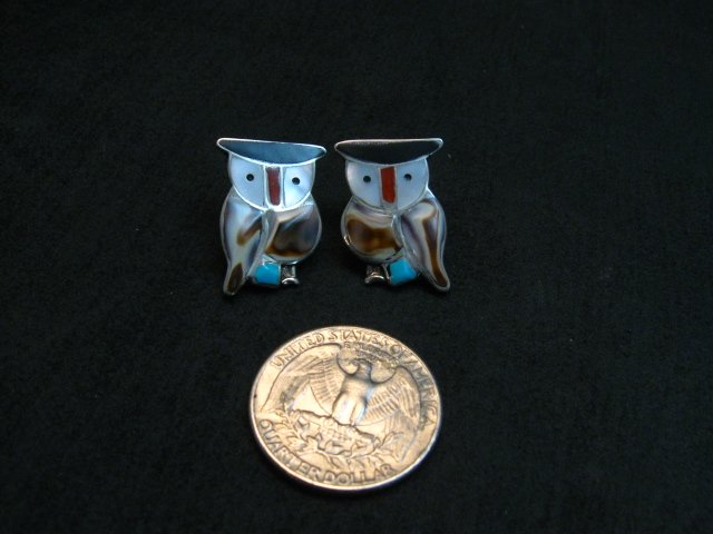 Image 2 of Zuni Multi Stone Inlay Owl Earrings by Pitkin Natewa