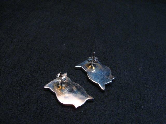 Image 3 of Zuni Multi Stone Inlay Owl Earrings by Pitkin Natewa