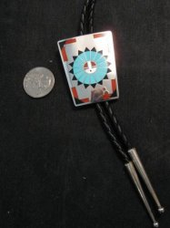 Fred & Lolita Natachu Zuni Sunface Inlay Sterling Silver Bolo