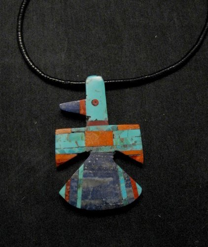 Image 1 of Big Santo Domingo Kewa Inlaid Thunderbird Pendant Necklace, Delbert Crespin