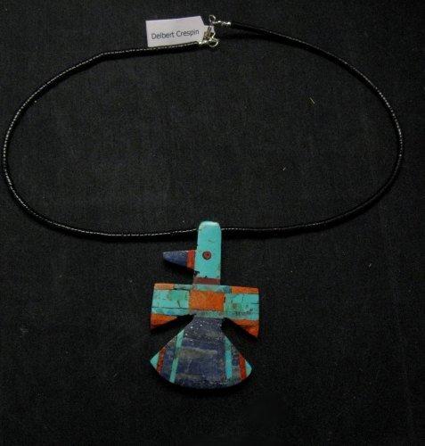 Image 2 of Big Santo Domingo Kewa Inlaid Thunderbird Pendant Necklace, Delbert Crespin