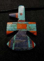 Big Santo Domingo Kewa Inlaid Thunderbird Pendant Necklace, Delbert Crespin