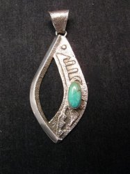 Indian Pawn Turquoise Sandcast Sterling Silver Pendant