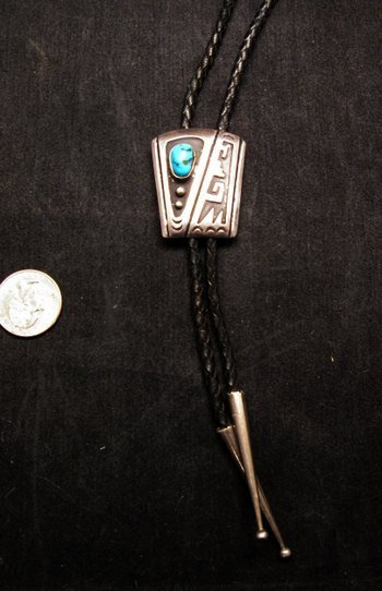 Image 0 of Vintage 1970's Sterling Silver Navajo / Hopi Bolo with Turqouise