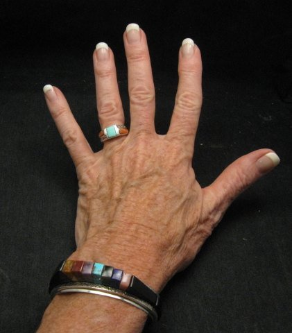 Image 3 of One of a Kind Hopi Multi Stone Inlay Bracelet, Bennard & Frances Dallasvuyaoma