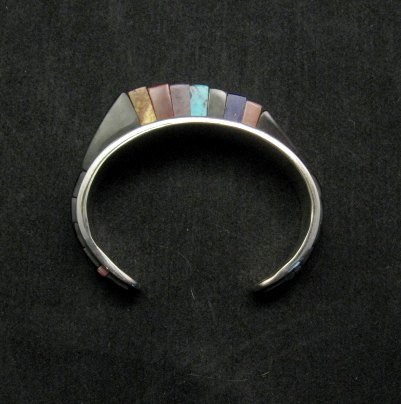 Image 2 of One of a Kind Hopi Multi Stone Inlay Bracelet, Bennard & Frances Dallasvuyaoma