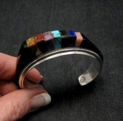 One of a Kind Hopi Multi Stone Inlay Bracelet, Bennard & Frances Dallasvuyaoma
