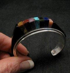 One of a Kind Hopi Multi Stone Inlay Bracelet, Bennard & Frances Dallasvuyaoma