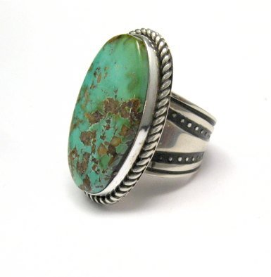 Image 1 of Albert Jake ~ Navajo ~ Native American Royston Turquoise Ring Sz6-1/2 to 8-1/2