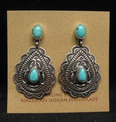 Native American Navajo Turquoise Sterling Silver Repousse Earrings