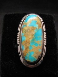 Big Native American Navajo Turquoise Sterling Silver Ring Sz7