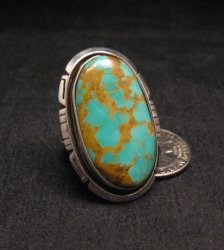 Big Native American Navajo Turquoise Sterling Silver Ring Sz8-1/4