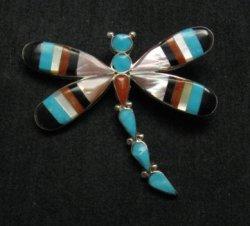 Multigem Inlay Dragonfly Pin Pendant, Zuni, Ahiyite