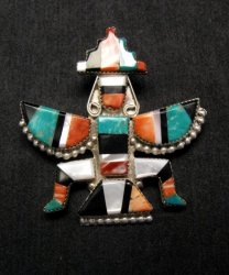 Eldred Martinez Zuni Knifewing Kachina Pin/Pendant