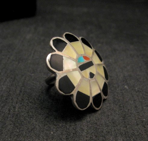 Image 1 of Vintage Native American Zuni Inlaid Sunface Ring Sz4-1/2