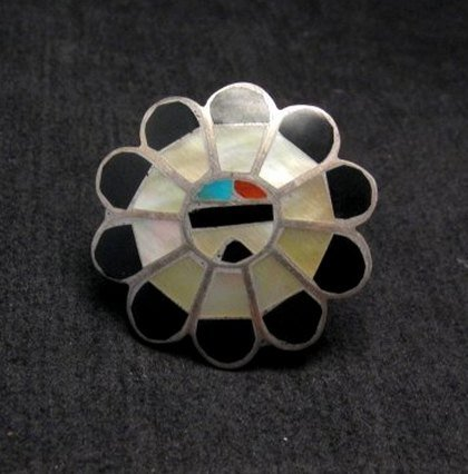 Image 0 of Vintage Native American Zuni Inlaid Sunface Ring Sz4-1/2