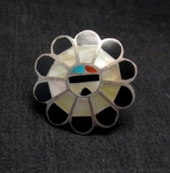 Vintage Native American Zuni Inlaid Sunface Ring Sz4-1/2