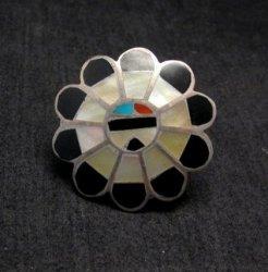Vintage Native American Zuni Inlaid Sunface Ring Sz4-1/2