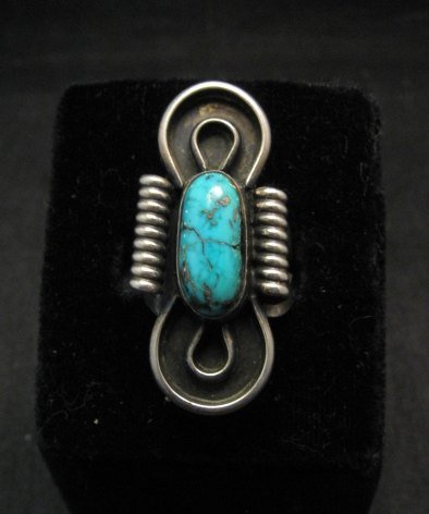 Image 0 of Vintage Southwestern Turquoise Silver Ring, Sz7