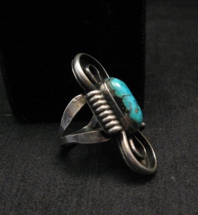 Image 1 of Vintage Southwestern Turquoise Silver Ring, Sz7