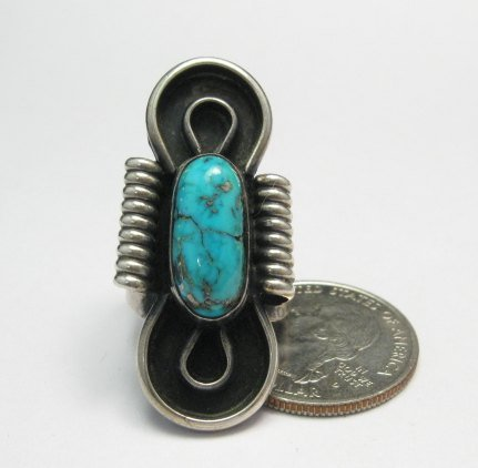 Image 3 of Vintage Southwestern Turquoise Silver Ring, Sz7