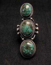 Huge Gloria Begay Navajo 3-stone Turquoise Sterling Silver Ring sz8