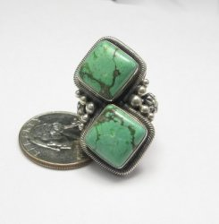 Gloria Begay Navajo 2-stone Turquoise Sterling Silver Ring sz6