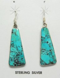 Native American Santo Domingo Turquoise Silver Earrings, Veronica Tortalita